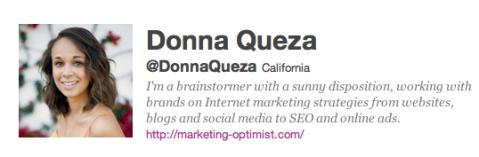 Donna Queza Twitter Bio October2011