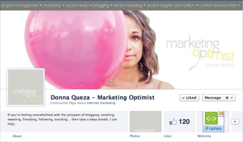 Donna Queza - Marketing Optimist Facebook Timeline Design